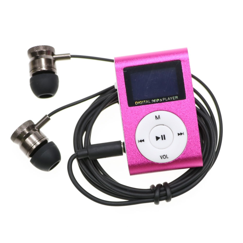 High quality MP3 music player + Metal stereo Earphone Kits Mini Clip mp3 Player with Micro TF/SD Slot
