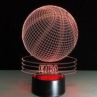 7 Màu Thay Đổi Đèn Ngủ Bóng Rổ NBA 3D Led Đèn Lễ Hội Đèn Lồng Giáng Sinh Trang Trí Cung Cấp Glow Phụ Kiện Ủng Hộ Đảng