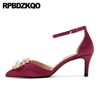 bridal pointed toe ladies high heels pearl crystal 2019 ankle strap scarpin green satin rhinestone shoes wine red diamond pumps