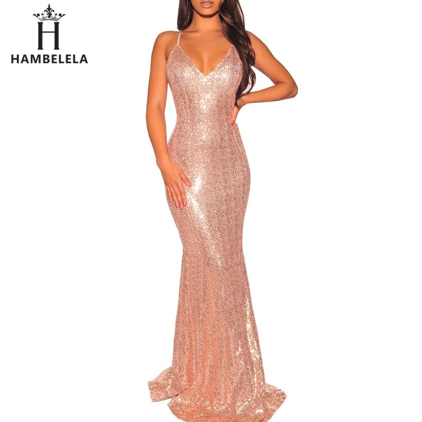 HAMBELELA Bodycon Dress Elegant Deep V Neck Backless Party Maxi Dress 2019  Summer Sexy Sequin Mermaid ... abe2a9198
