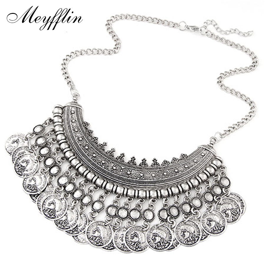 Vintage Maxi Necklace Bohemian Statement Necklaces & Pendants for Women Coin Choker Collier Femme Boho Jewelry Christmas Gifts