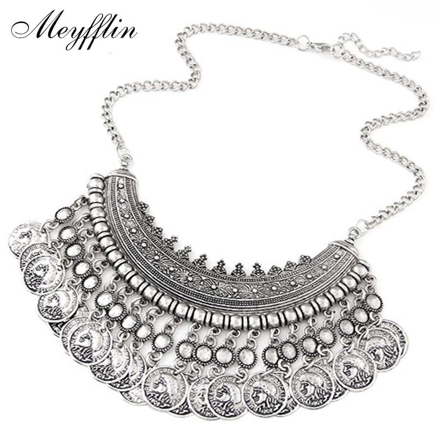 Vintage Maxi Necklace 여성용 보헤미안 성명서 목걸이 및 펜던트 Coin Choker Collier Femme Boho Jewelry 크리스마스 선물