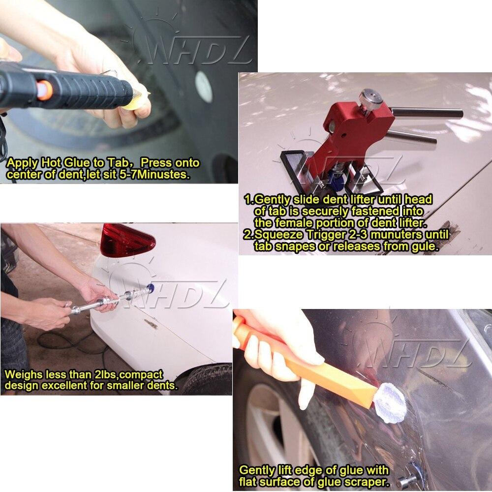 Купить с кэшбэком 4Pcs Car Dent Removal Paintless Dent Repair Kit Aluminum PDR Glue Puller Tabs Glue Pulling Tabs auto body Dent Removal Hand Tool