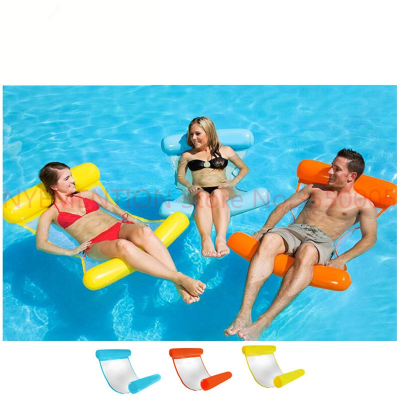 все цены на Summer Water Sports Hammock Inflatable Beach Swimming Float Lounger Chair Swimming Pool Accessories 20pcs