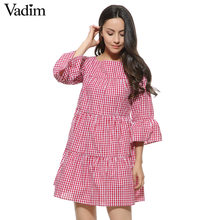 Women oversized pleated plaid dress summer elegant checkered flare sleeve loose casual sweet dresses vestidos QZ2821(China)
