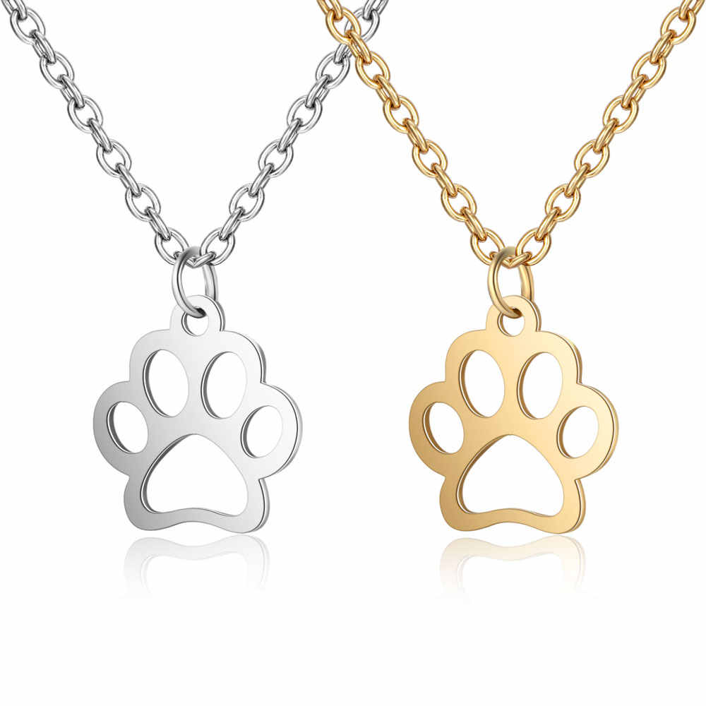 100% Stainless Steel Dog Paw Charm Necklace Forever Wearing Cat Paw Jewelry Birthday Gift