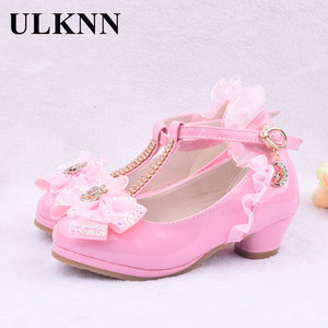 Image 3 - ULKNN Children Party Leather Shoes Girls PU Low Heel Lace Flower Kids Shoes For Girls Single Shoes Dance Dress shoe White Pink