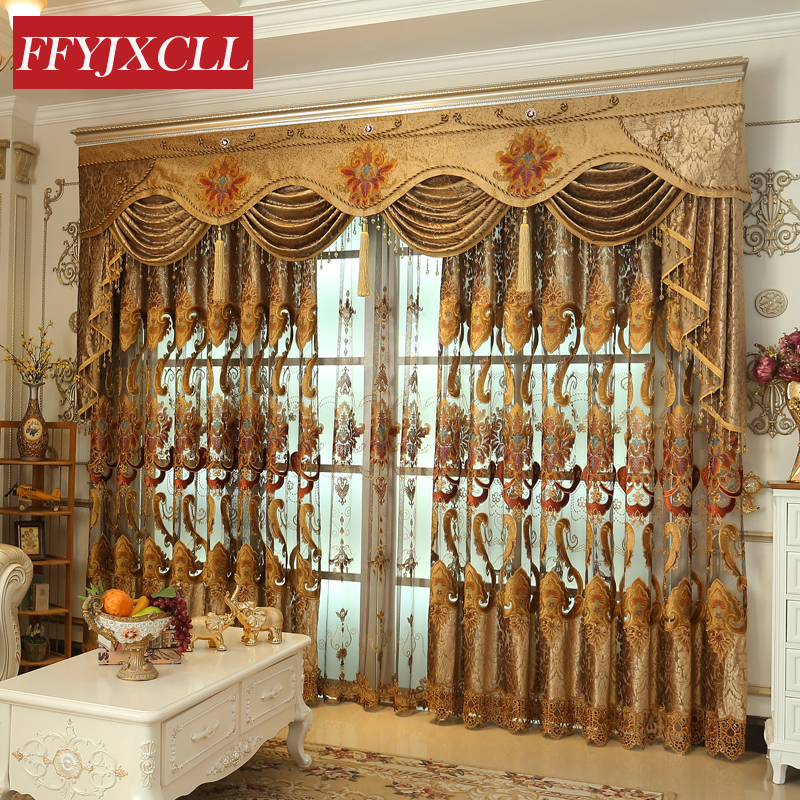 Home Decoration Luxury Curtains For Living Room Bedroom Flowers Design Embroidered Curtains Windows Fabric Blinds Tulle