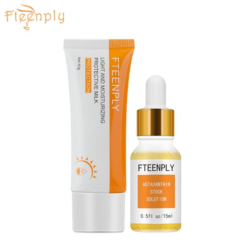 FTEENPLY Protective Milk Astaxanthin Stock Solution Facial Sunscreen Cream Whitening Moisturizing Post sun Repair Sun Screen in Day Creams Moisturizers from Beauty Health