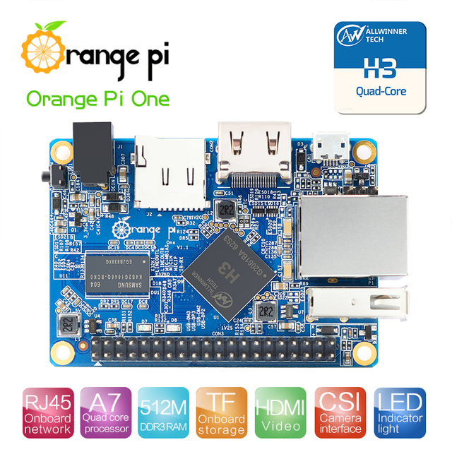 Arancione Pi Un H3 512 MB Quad-core Supporto ubuntu linux e android mini PC