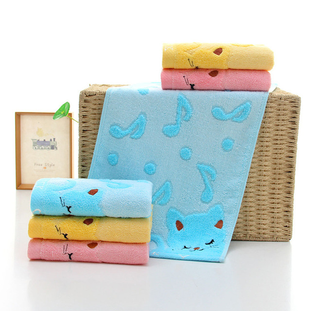 Non-twisted Bamboo Fiber Music Cat Baby Wash Towels Spa Facial Bath Towel