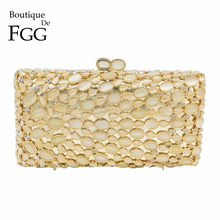 Boutique De FGG Classic Golden Opal Stone Women Crystal Clutch Evening Minaudiere Bags Bridal Wedding Party Box Handbag Purse(China)