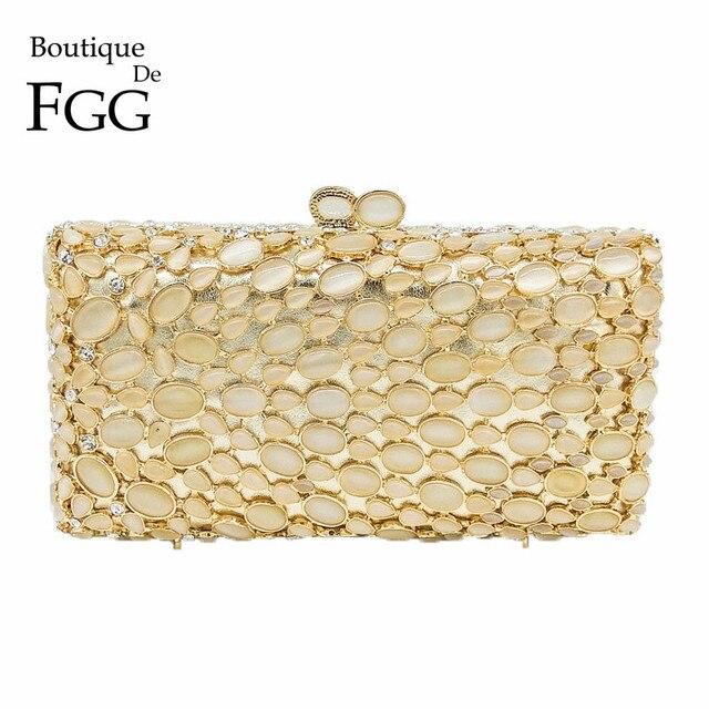 Boutique De FGG Classic Golden Opal Stone Women Crystal Clutch Evening  Minaudiere Bags Bridal Wedding Party 336749030467