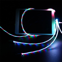 3 in 1 LED Flowing Light USB Cable for Mobile Phone Fast Charging Micro Type C For iPhone X 8 7 6 Charger
