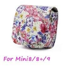 Peinture à lhuile Rose en cuir pour appareil photo instantané sac à bandoulière protecteur étui pour Fujifilm Instax Mini 9 étui mini 8 8 +