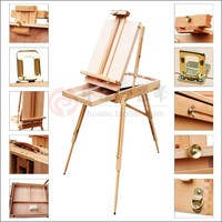 Adjustable wooden Artist tabletop Easel with handle,oil painting tabletop box,For Oil painting,Sketch easel.Convinent carry.