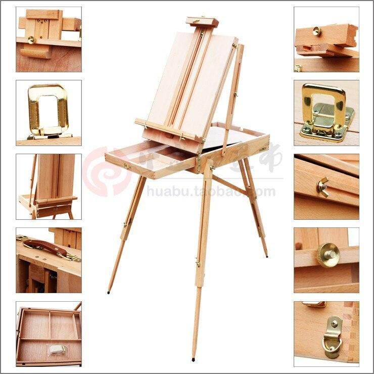 Chevalet de table d'artiste en bois réglable avec poignée, boîte de table de peinture à l'huile, pour peinture à l'huile, chevalet de croquis.