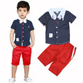 Boys Clothing Sets New 2016 Summer Polka Dot Shirt + Five Pants Suit High Quality Kids Boy Clothes for 2-6 Years CLS072