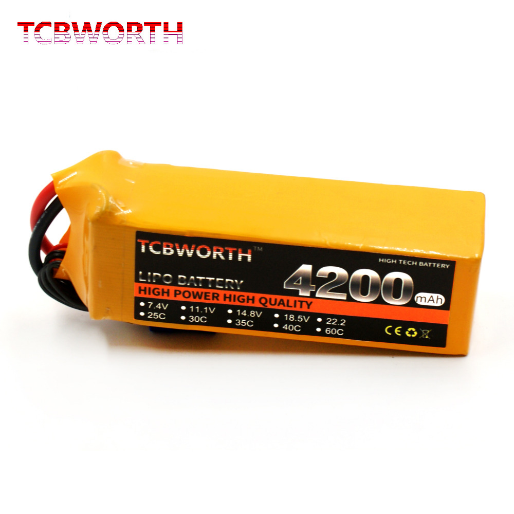 TCBWORTH RC Airplane Lipo Battery 6S 22.2V 4200mAh 40C-80C for RC Car Tank Drone Toy part AKKU 6s batteria 1s 2s 3s 4s 5s 6s 7s 8s lipo battery balance connector for rc model battery esc