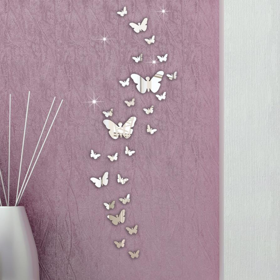 2017 HOT High Quality 30PC Butterfly Combination 3D Mirror Wall Stickers Home Decoration DIY 1.27 wh