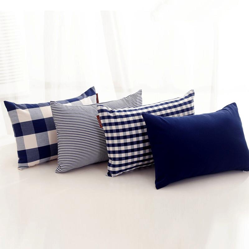 excellent europe modern ikea navy blue plaids stripe solid cushion throw pillow cover bed set. Black Bedroom Furniture Sets. Home Design Ideas