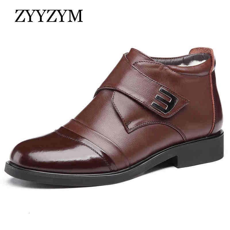 ZYYZYM Wool Blend Men Winter Boots Size 38~46 Warmest Leather Russian Style Men Snow Boots