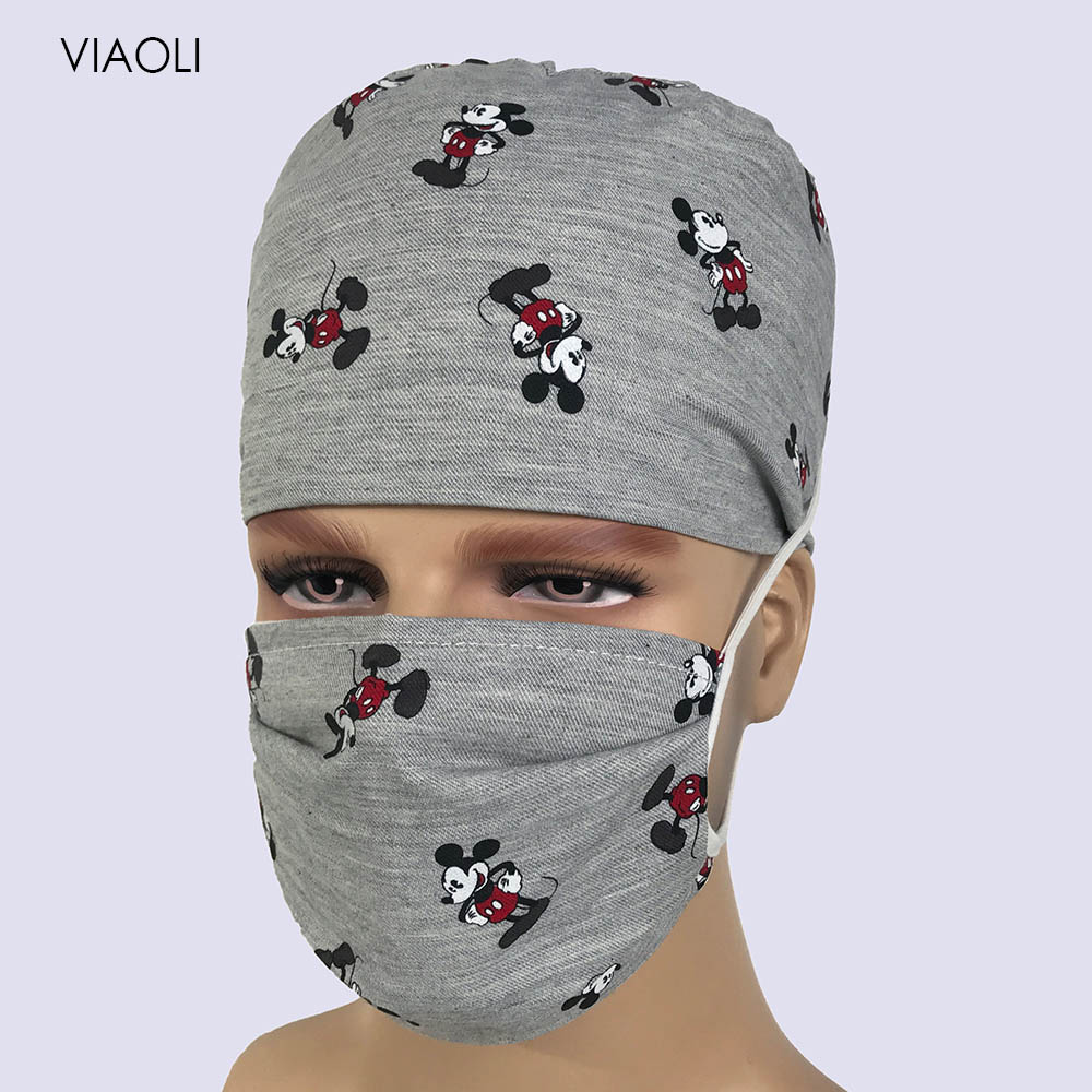 Viaoli 2020 New Cotton Scrub Caps For Women And Men Hospital Medical Hats Print Cat In Gray Tieback Elastic Section Surgical Cap