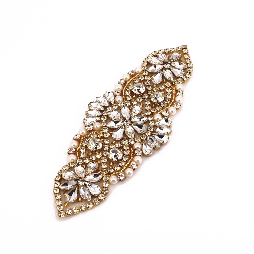 Color : Gold White XIAOL HOME Handmade Pearl Ribbon Trimming Bridal Belt Applique Rhinestone Wedding Belt