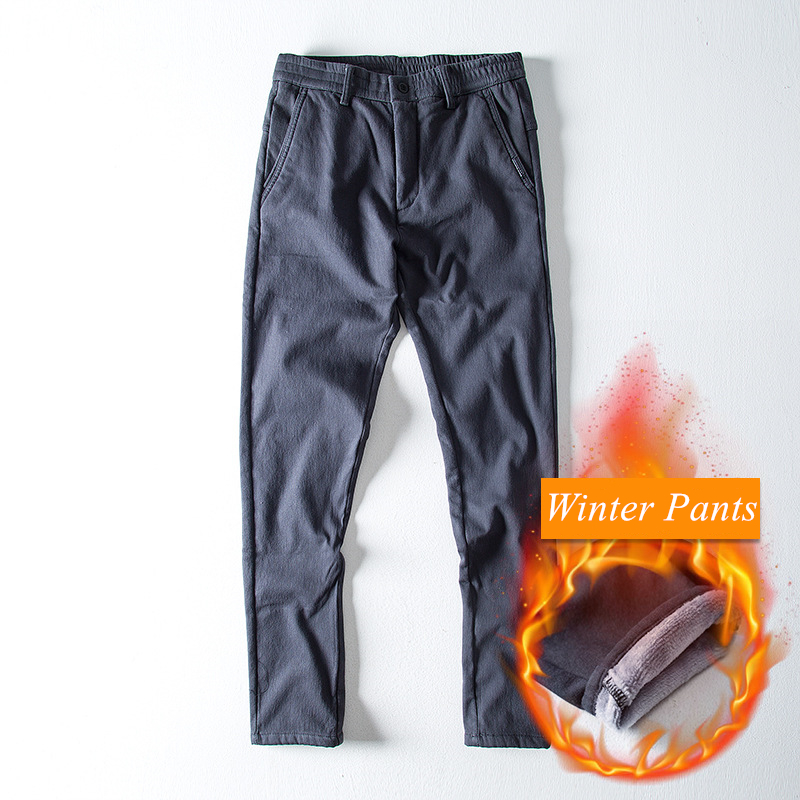 2018 Mens Winter Warm Pants Thick Fleece Comfortable Men Trousers Straight Pants Vintage Style Solid Color Streetwear 2 Colors Elegant And Sturdy Package