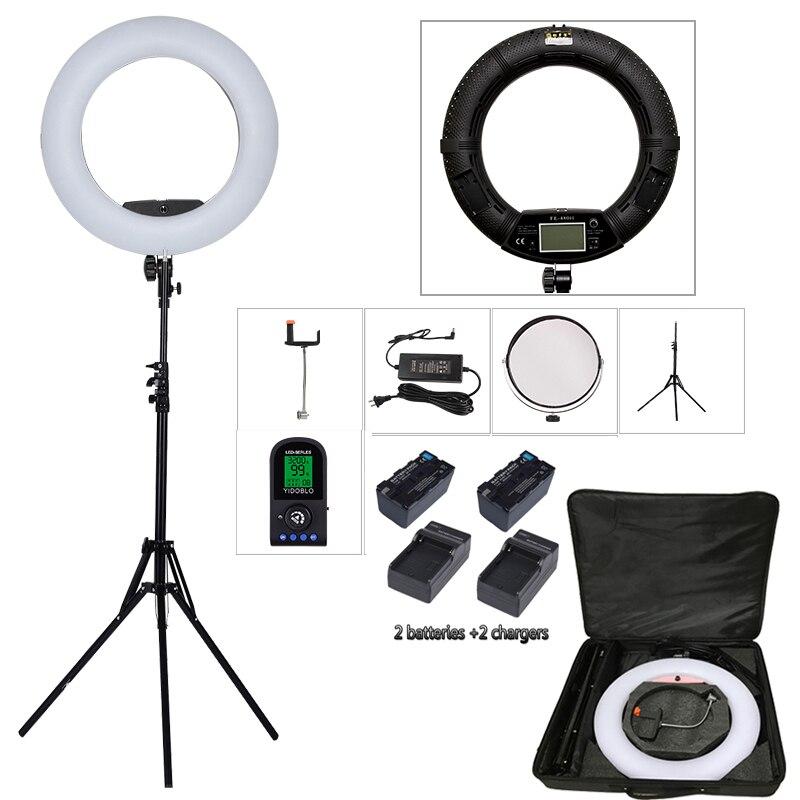 Yidoblo FE-480II био-цвет кольцо лампы 480 светодиодный светильник фотографии Красота красоты ногтей макияж selfie освещения + подставка + сумка + аккум...