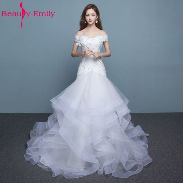 Beauty Emily Long White Wedding Dresses 2017 New Design Mermaid Boat Neck Lace Up