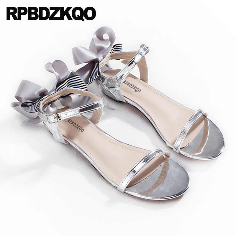 00d7a5a21 ... Bow Double Strap Sandals 2018 Pumps Cute Casual Gold Block Low Heel  Women Silver Thick Shoes