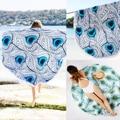 2016 Mujeres Ronda de Boho Hippie Mandala Tapestry Wall Hanging Toalla de Playa Pareo Abrigo de la Bufanda Del Mantón Suave de La Borla de Picnic Estera de Yoga