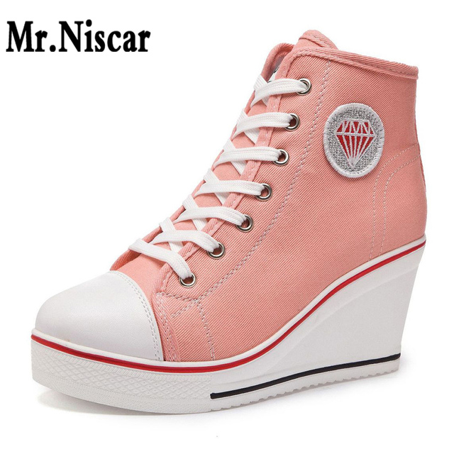 824b55878f2c Wedge Casual Canvas Shoes Side Zipper High Heels Lace Up High Top Shoes  Women 8cm Height