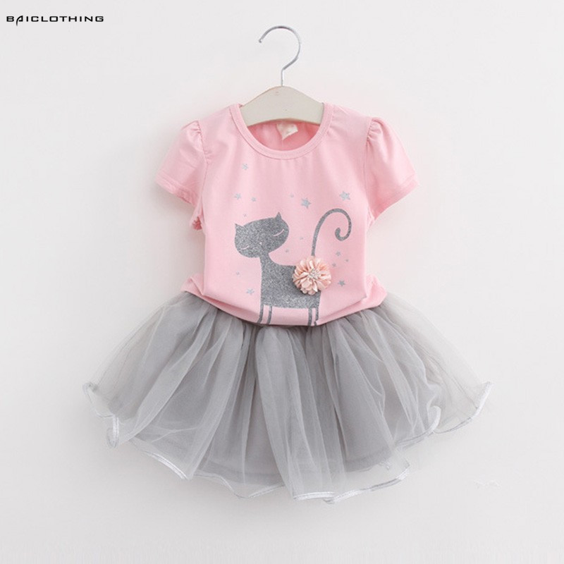 2017 Spring New Baby Girls Clothing Sets Fashion Style Appliques Cartoon Kitten Printed T-Shirts+Ball Gown Veil Dress 2Pcs sales size 100 spring autumn dress sets for girls christmas style red dress white cotton sleeved shirts tops 2 pc clothing