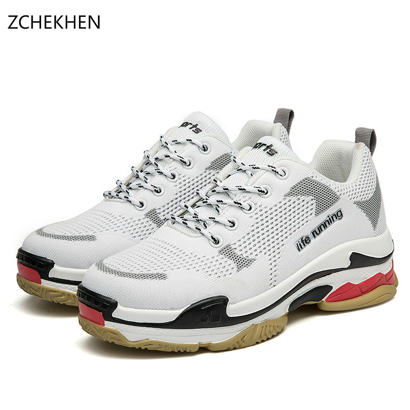 2018 High Top Fashion dad Sneakers Women Breathable air mesh Platform Shoes Tenis Feminino Casual Shoes Women Black/white instantarts flats women shoes casual cool skull punk print women air mesh shoes sneaker breathable light indoor youth girl tenis