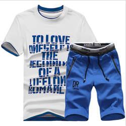 2018 лето Человек M-4XL одежда Для Мужчин's Комплект повседневной одежды для детей Тонкий О-образным вырезом короткий рукав письма печатаются
