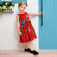 Girls Dress Summer Butterfly Floral Print 100 Cotton Teenagers Dresses For Girls Designer Formal Party Dress
