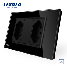Livolo Brazilian/Italian Standard 2gangs 3 Pins 20A Socket,  Glass panel Without Plug,  C9C2CBR2-11/12