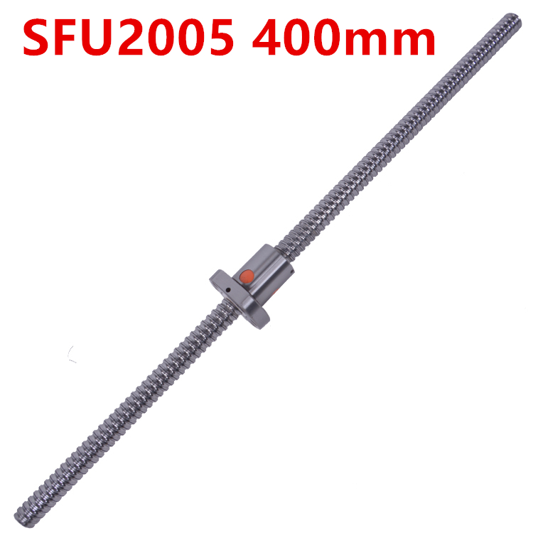 NEW 20mm SFU2005 400mm  Ball Screw Rolled ballscrew  SFU2005 400mm with single 2005 flange ballnut for CNC part tbi ball screw 2005 c7 1000mm with 5mm lead without flange ballnut bsh2005 for cnc kit backlash