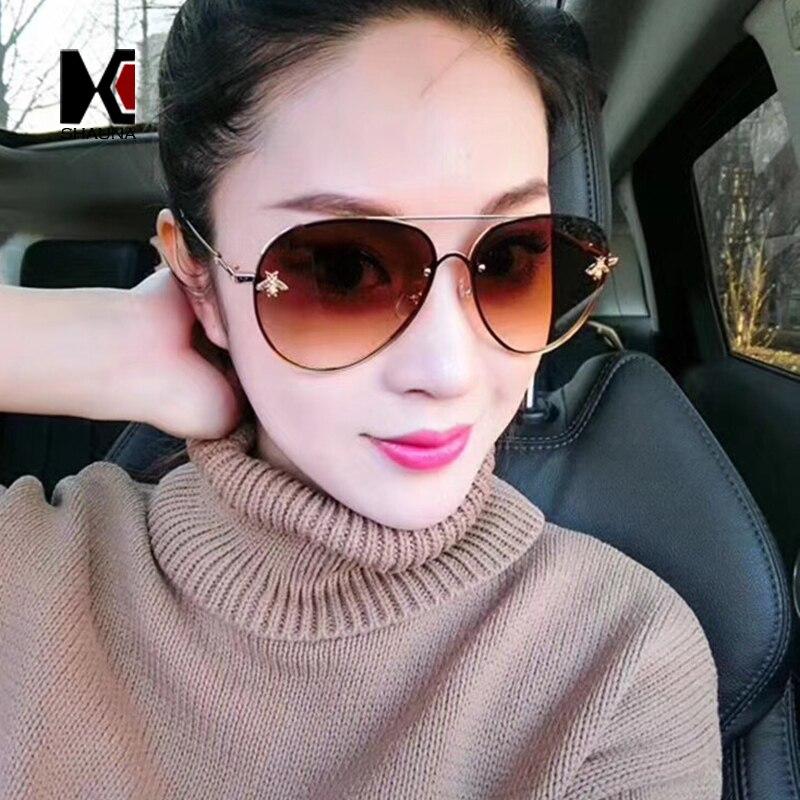 SHAUNA Fashion Little Bee Decoration Women Pilot Sunglasses Vintage Men Rimless Gradient Lens Glasses UV400