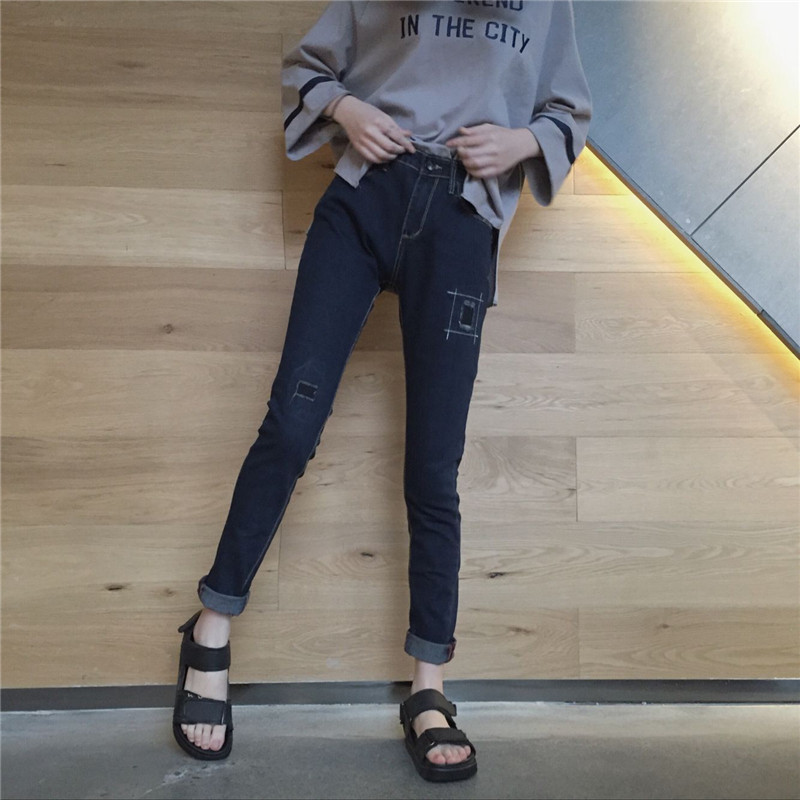 2017 Spring / Autumn New Dark Blue Personality Holes Casual Nine-points Skinny  Denim Pants  High Waist Stretch Tight Jeans