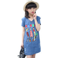 Summer Short Sleeve Girl Denim Dresses Hole Girls Dress Jeans Fashion Cartoon Printed Children Kids Vestidos