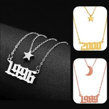 Custom Name Necklace Gold Silver Stainless Steel Year Number Star moon Sun Pendant Layered Necklace 1980-2019 Birthday Year Gift