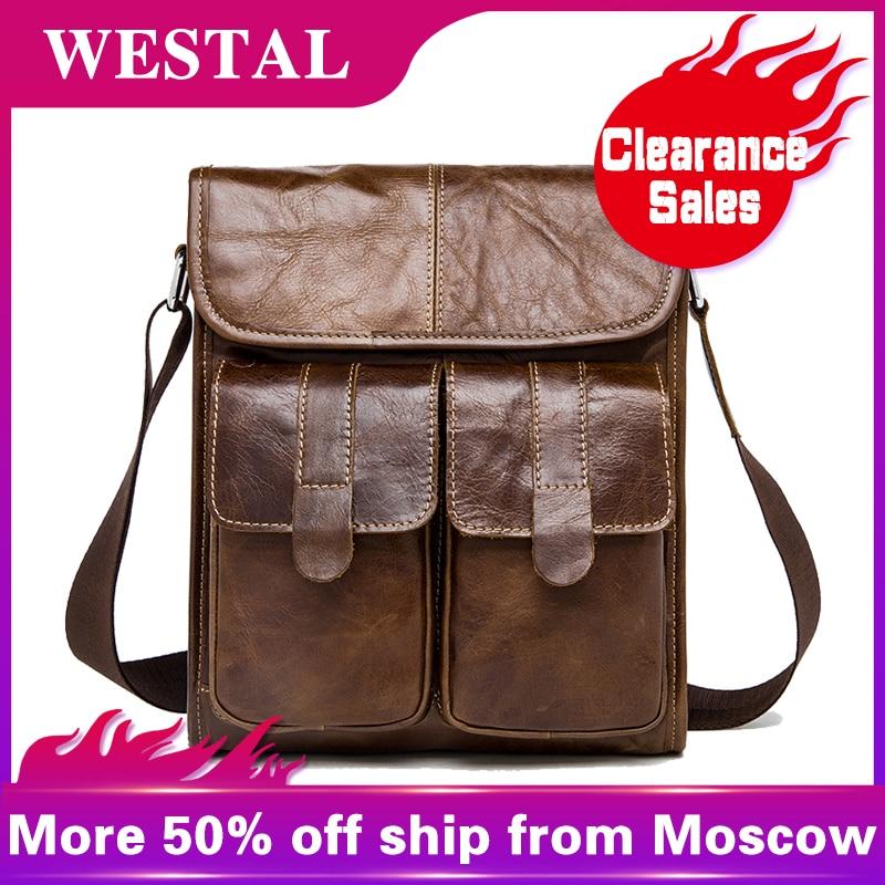 b32ec5872 Comprar WESTAL de cuero genuino mensajero bolsa los hombres bolsas de moda  de los hombres pequeño maletín hombre Casual hombro bolso bandolera para  hombre ...