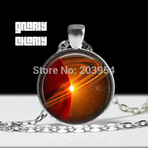 Steampunk movie Saturn Universe Hipster Necklace 1pcs/lot bronze silver Glass Pendant jewelry black copper 2017 vintage galaxy image