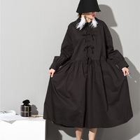 La moda de primavera lindo nuevo de la señora del color puro flojo retro arco super gran swing dress negro blanco doll dress
