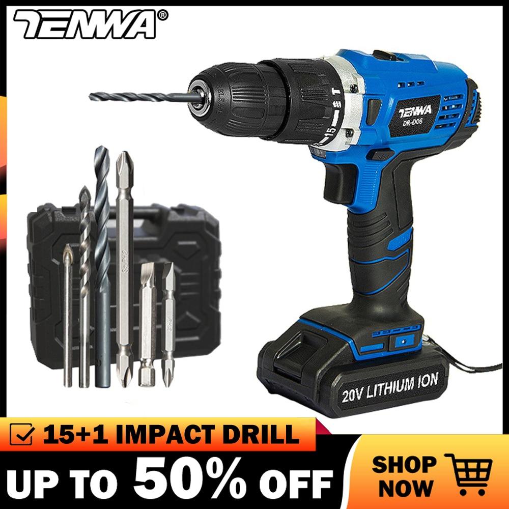 TENWA 20V Impact Cordless Drill Electric Screwdriver USB Output 13Pcs Drill Bit With Box LED LIGHT