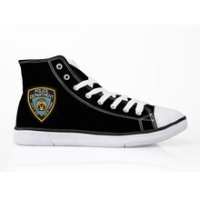 Black NYPD Police Men Vulcanize Shoes High Top Lace Up Canvas Sneakers For School Boys Flats For Man Footwear Size 35-45