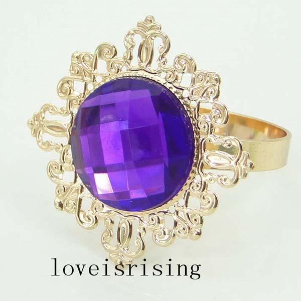 100PCS/Lot Fashion Beautiful Purple Acrylic Gem Gold